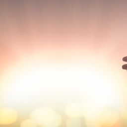 Silhouette Jesus Christ open spiritual hands over blurred sunset background